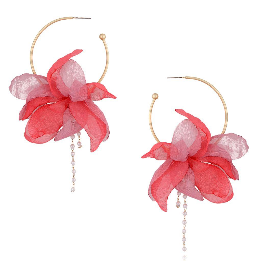 Kolczyki jedwabne kwiaty malinowo różowe KBL0372