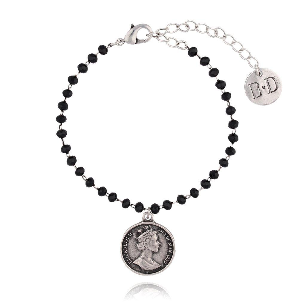 Bransoletka srebrna z kryształkami i monetą BRG0110