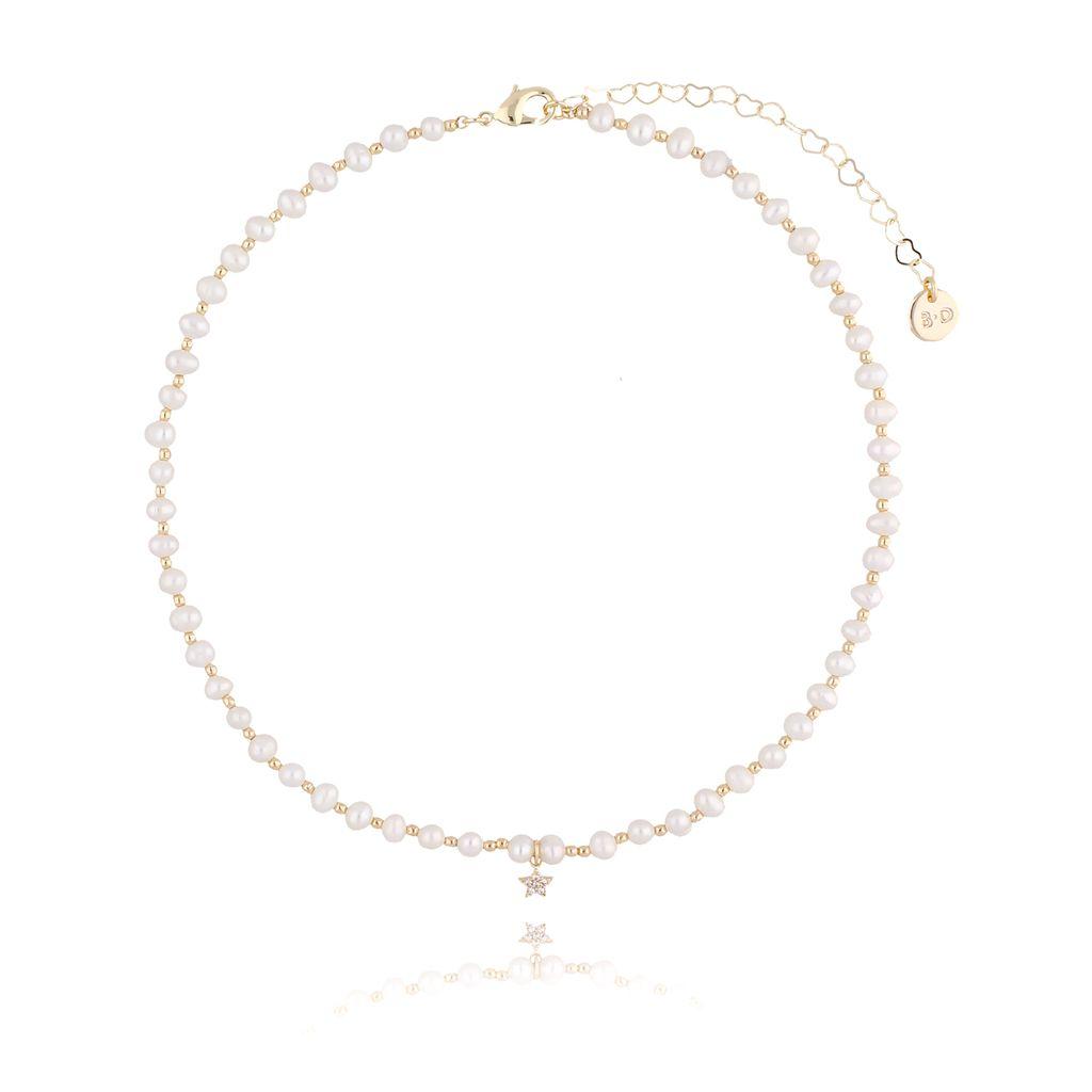 Naszyjnik złoty z perełek z gwiazdką NPE0022