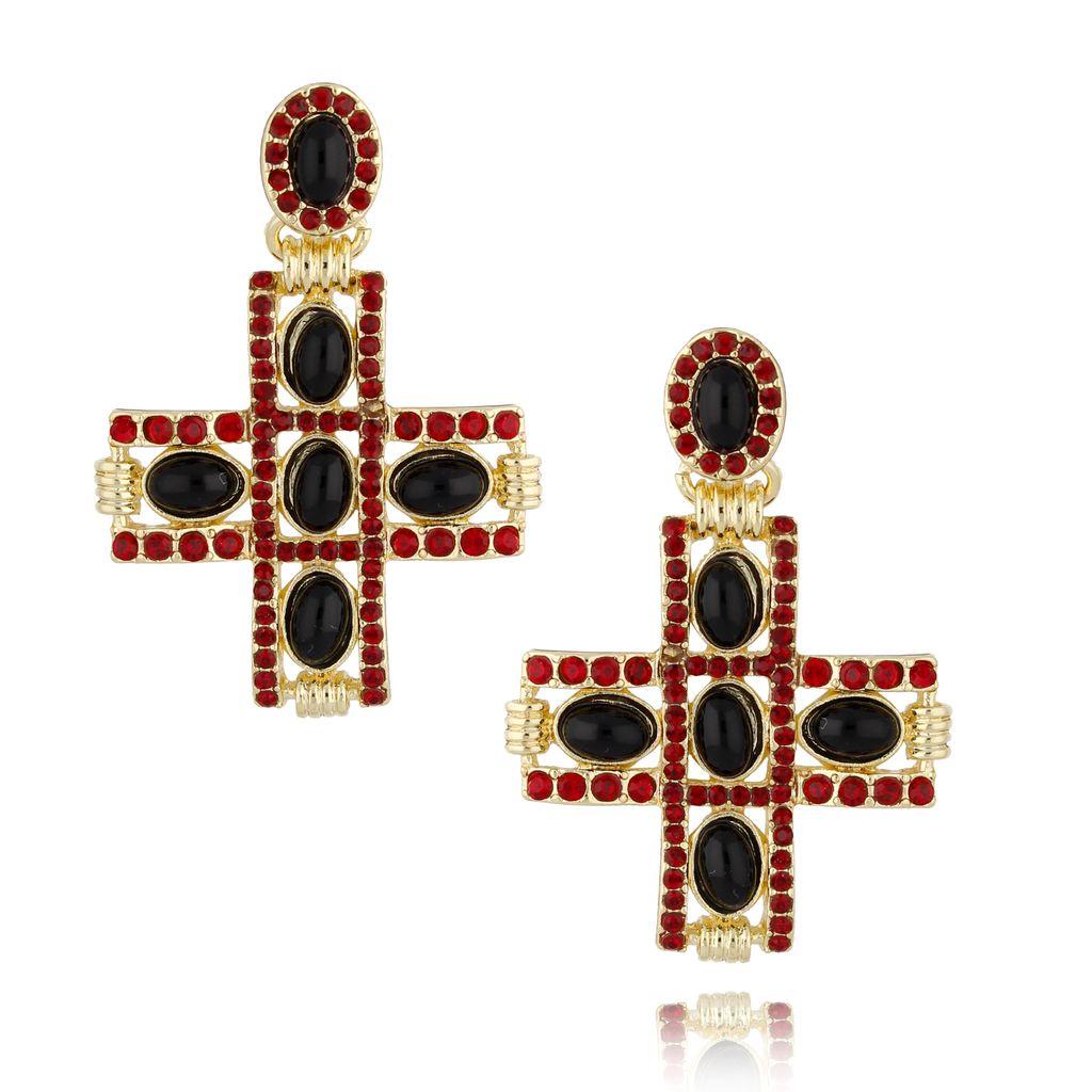 Kolczyki złote krzyżyki z czerwonymi kryształkami KU0017