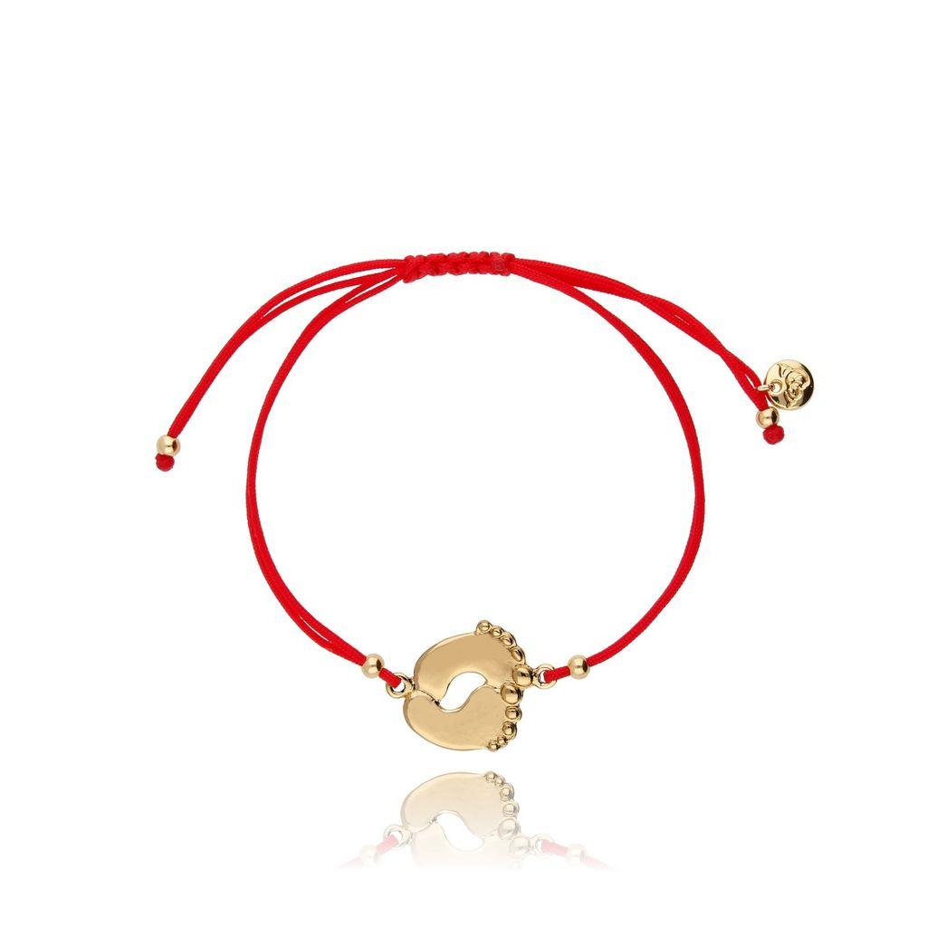 Bransoletka czerwona ze złotą stópką BGL0439