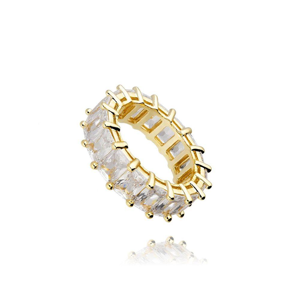 Pierścionek złoty z kryształkami PRG0109 rozmiar 10