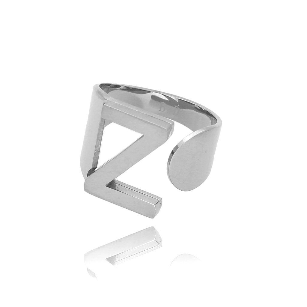 Pierścionek srebrny ze stali szlachetnej z literką Z PSA0077