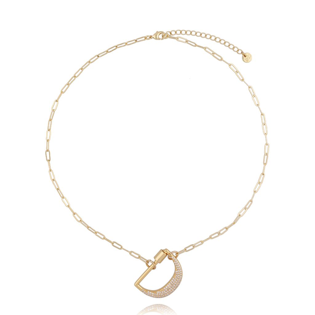 Naszyjnik złoty łańcuch z literą D NSL0055