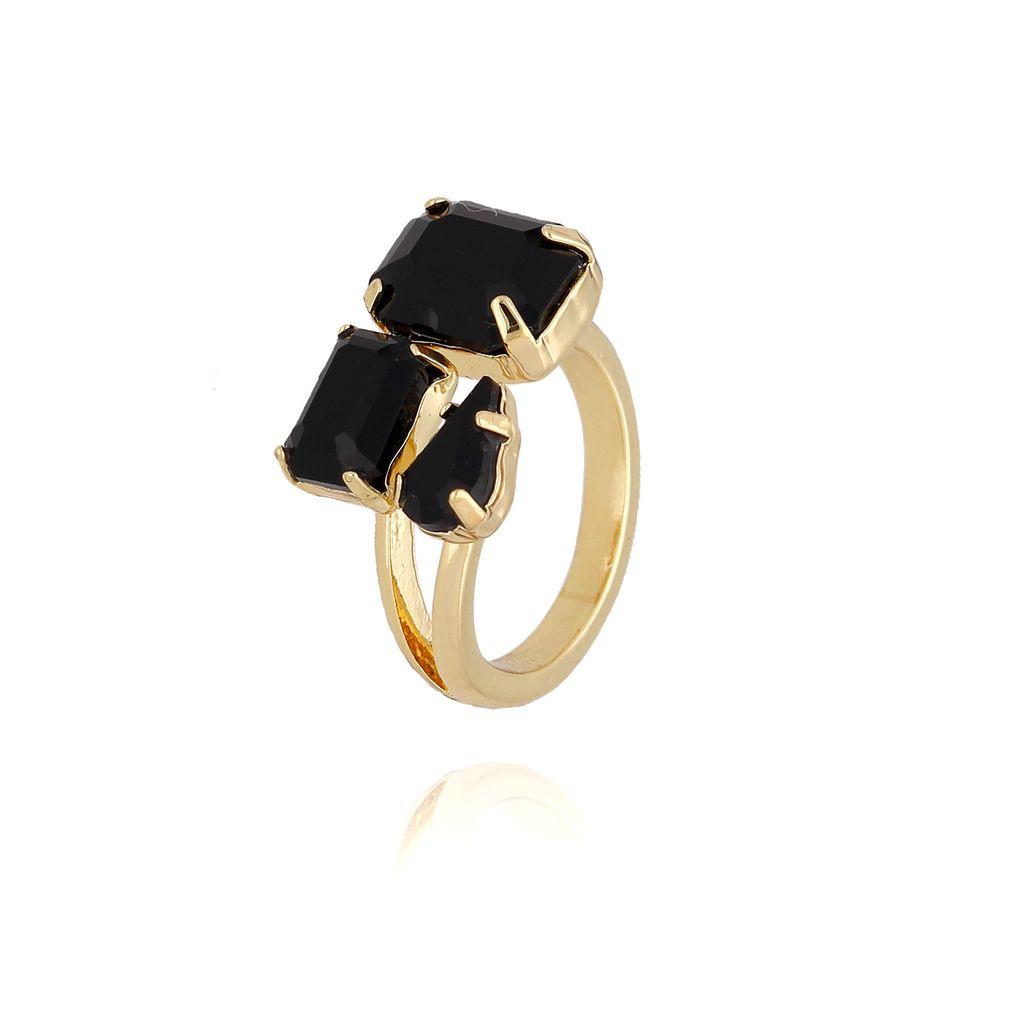 Pierścionek złoty z czarnymi kryształami PRG0094 rozmiar 12