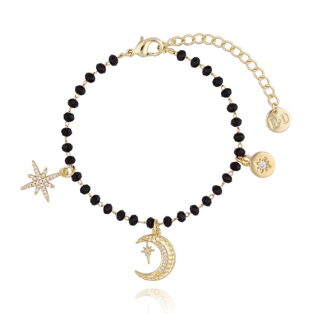 Bransoletka złota z kryształkami i charmsami BRG0179