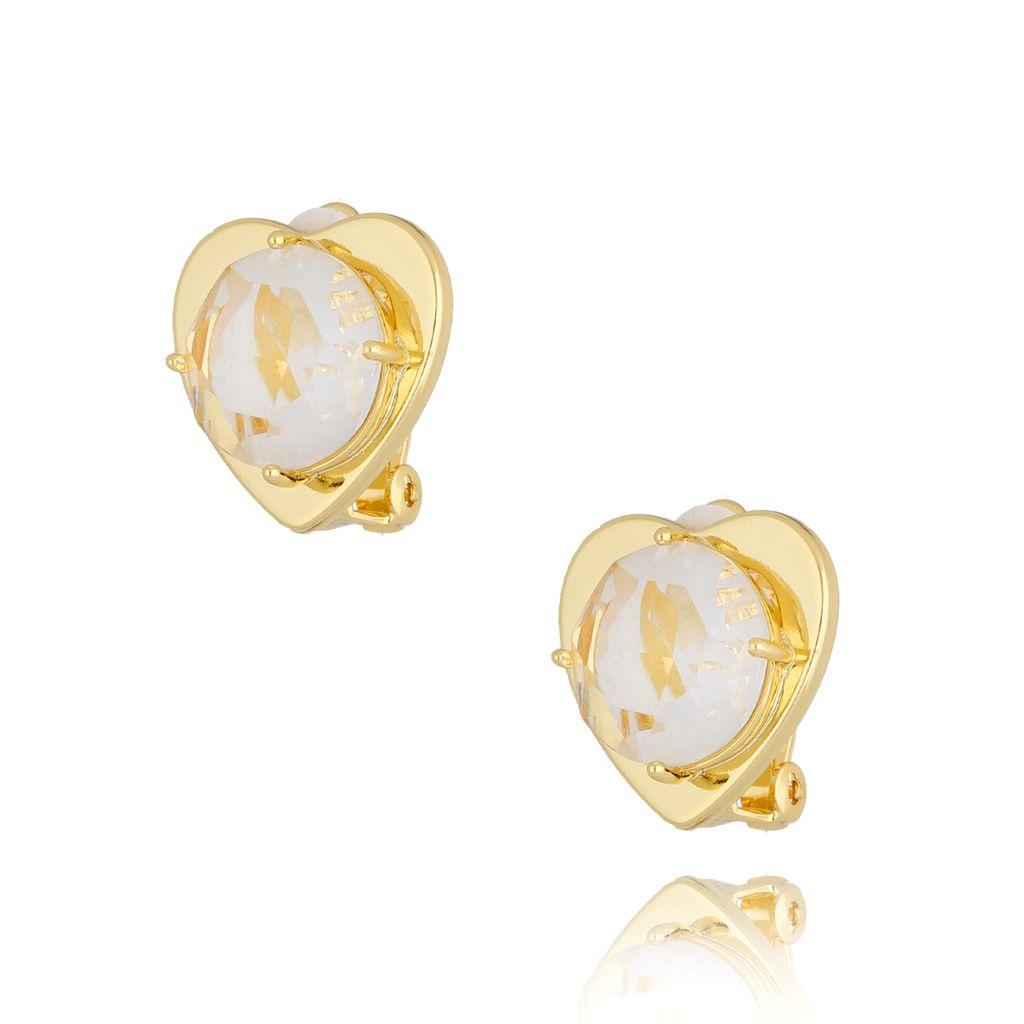 Klipsy serca z transparentnymi kryształkami KTO0005