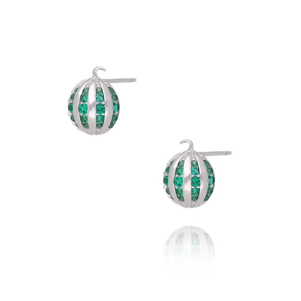 Kolczyki srebrne zielone bombki KGM0102