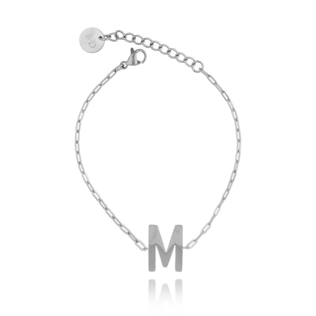 Bransoletka srebrna z literką M BAT0094