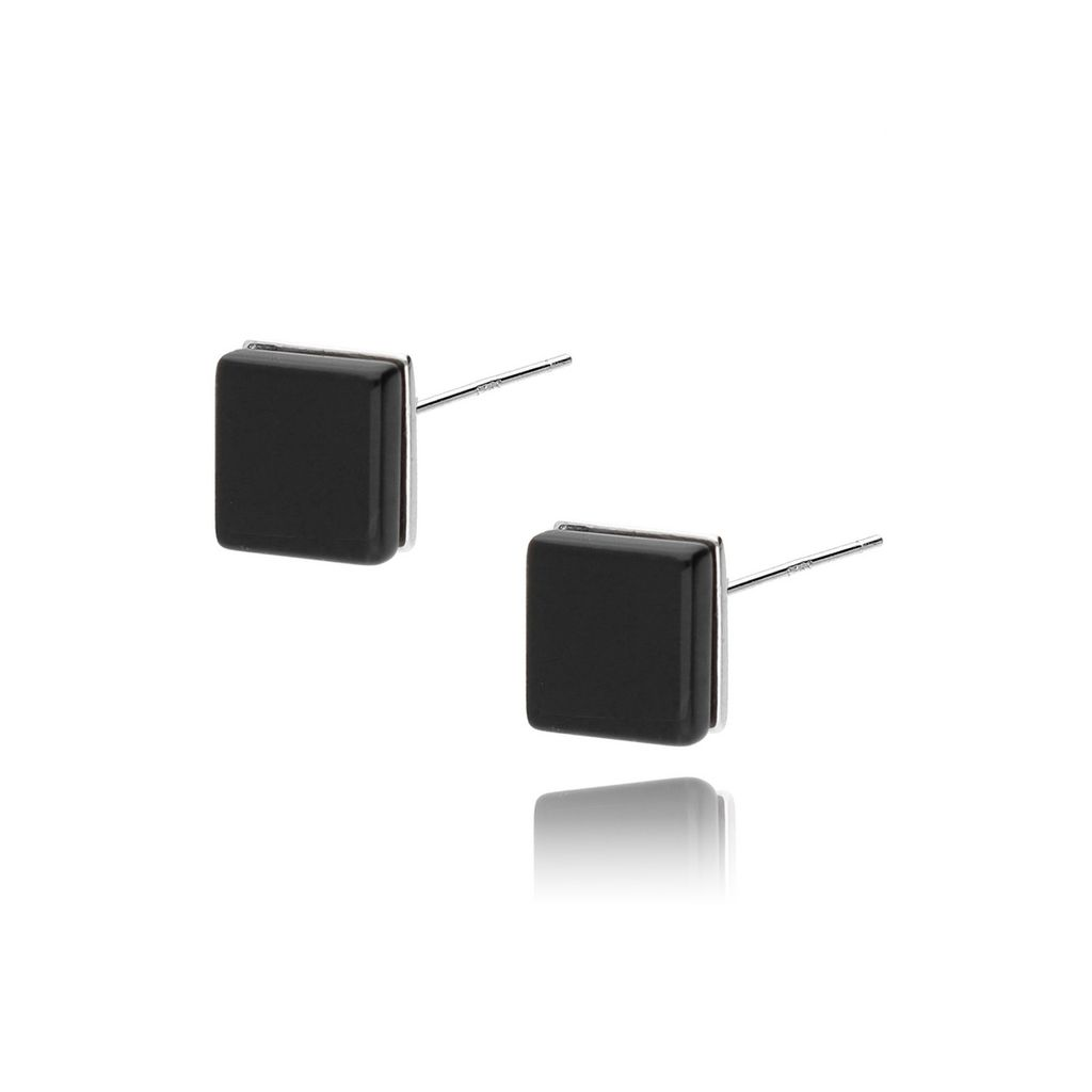 Kolczyki srebrne kwadraty z czarnym onyksem KSE0030