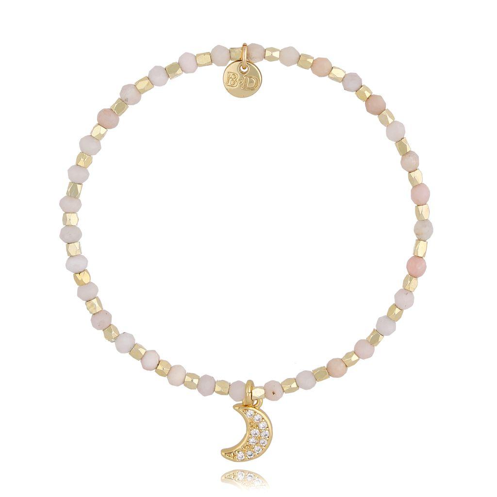 Bransoletka z różowym opalem i księżycem BSC0868