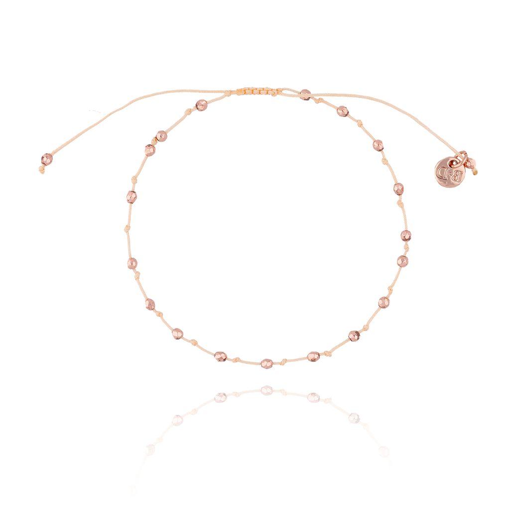 Bransoletka ze sznurkiem z supełkami różowe złoto BSC0721