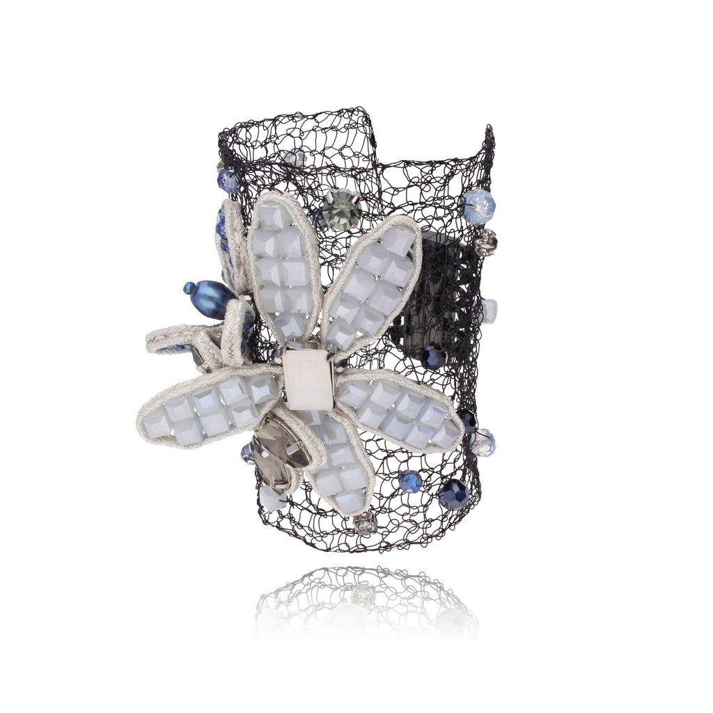 Bransoletka szara kryształowy kwiat BMS0610
