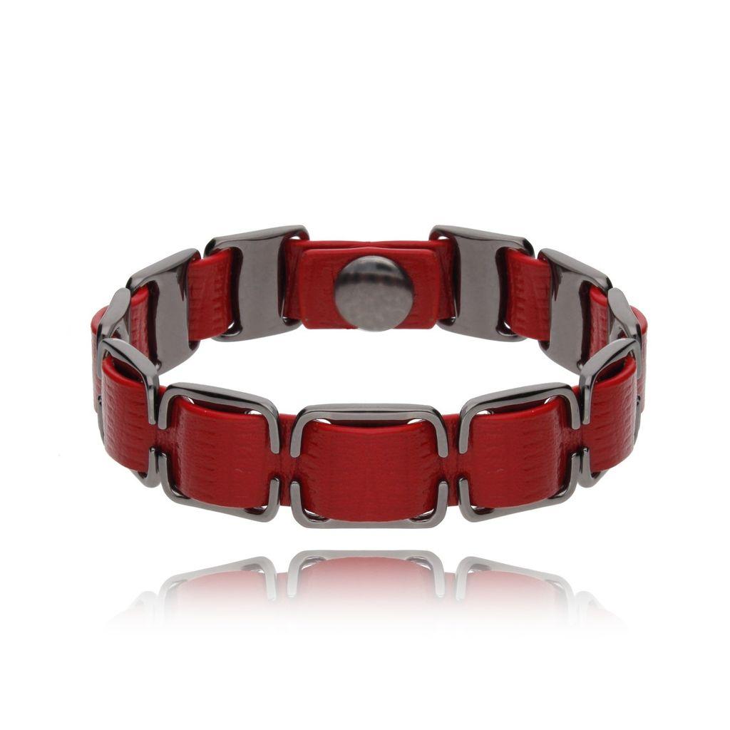 Bransoletka męska hematytowa na czerwonym skórzanym pasku BRG0068
