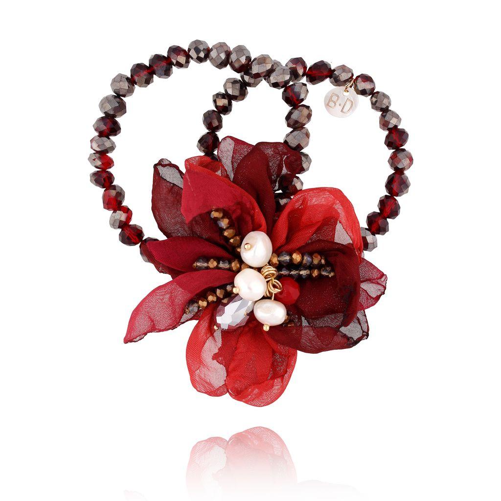 Bransoletka z kryształkami i  bordowym kwiatem  BBL0102