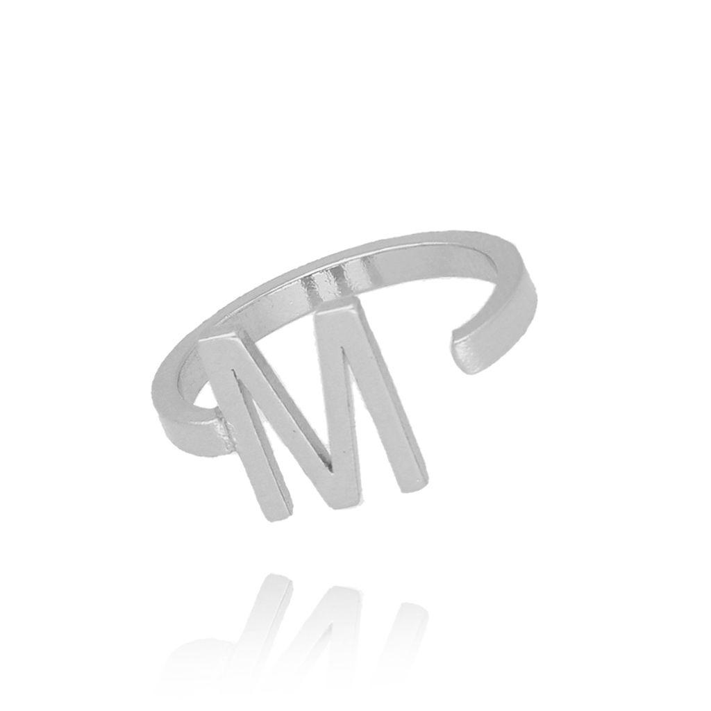 Pierścionek srebrny literka M PAT0027