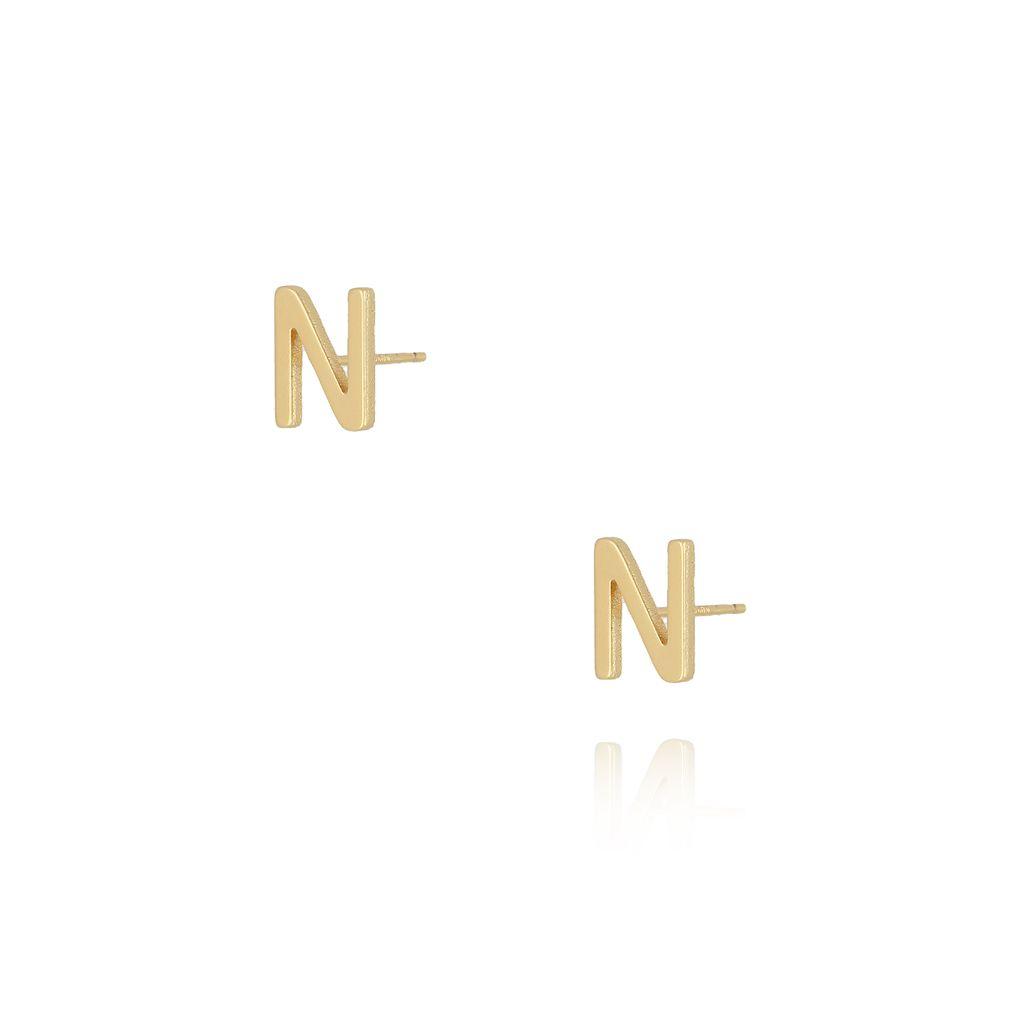 Kolczyki wkrętki z literką N złote KAT0019