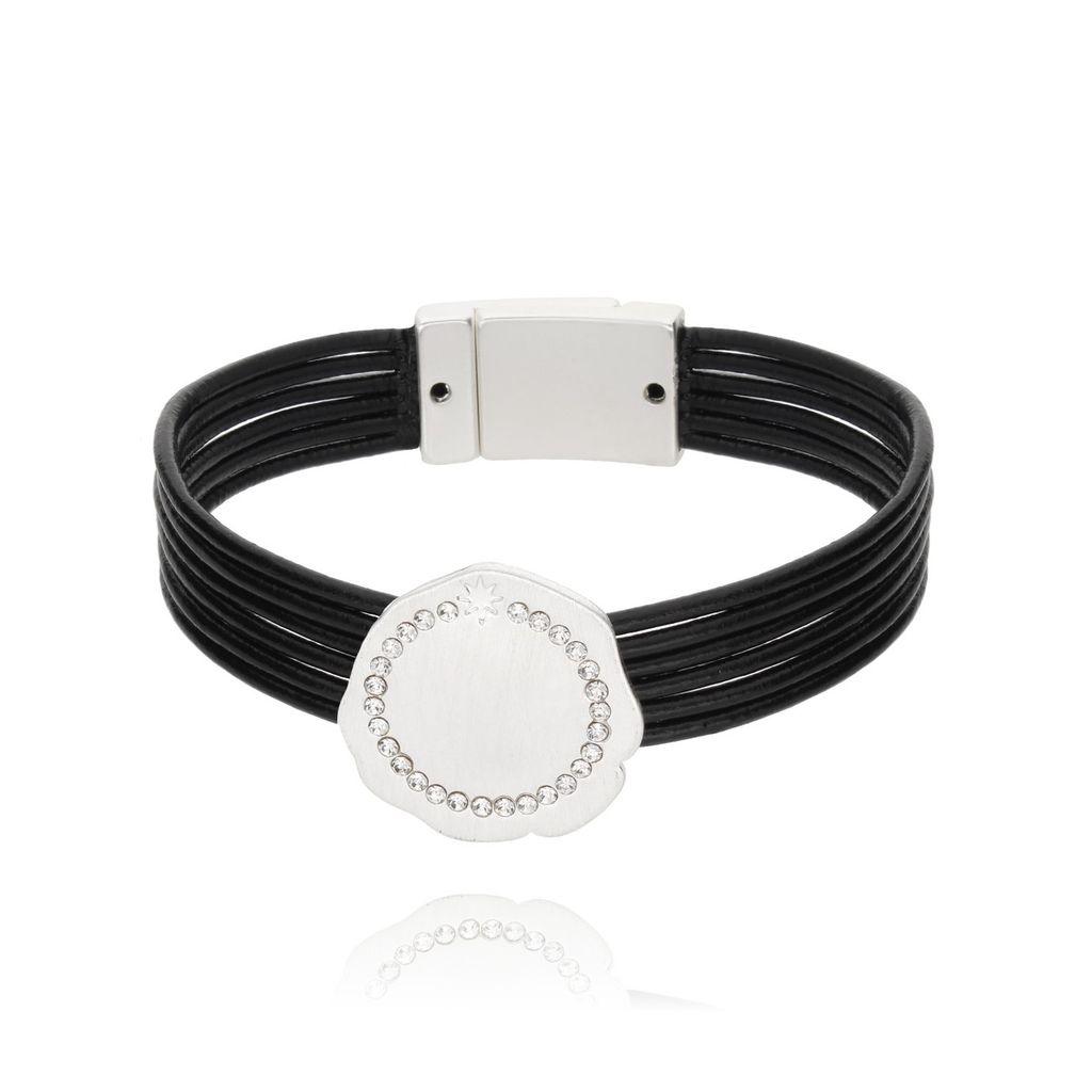 Bransoletka czarna na skórzanych paskach - srebrna tarcza z cyrkoniami BLD0016