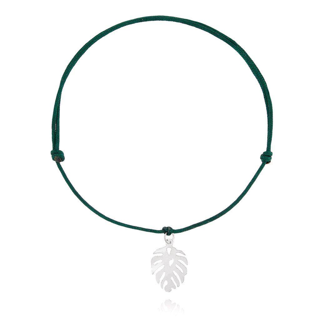 Bransoletka srebrna monstera na zielonym sznurku BSE0078