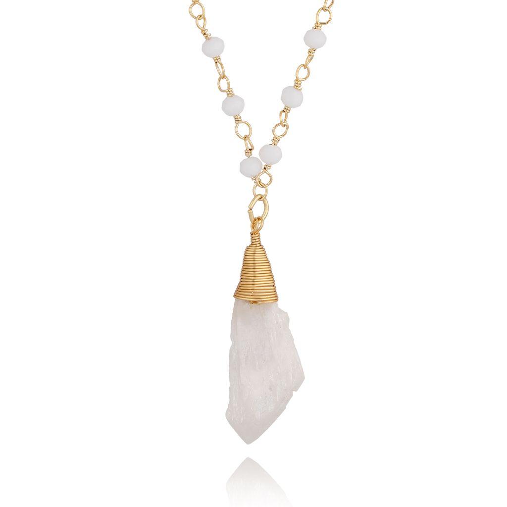 Naszyjnik z łańcuszkiem z kryształkami NPA0063 krótki