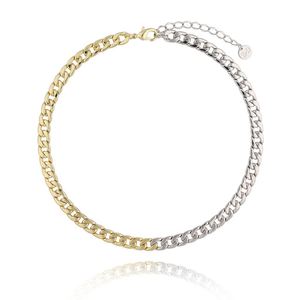 Naszyjnik srebrno złoty łańcuch średni NRG0298