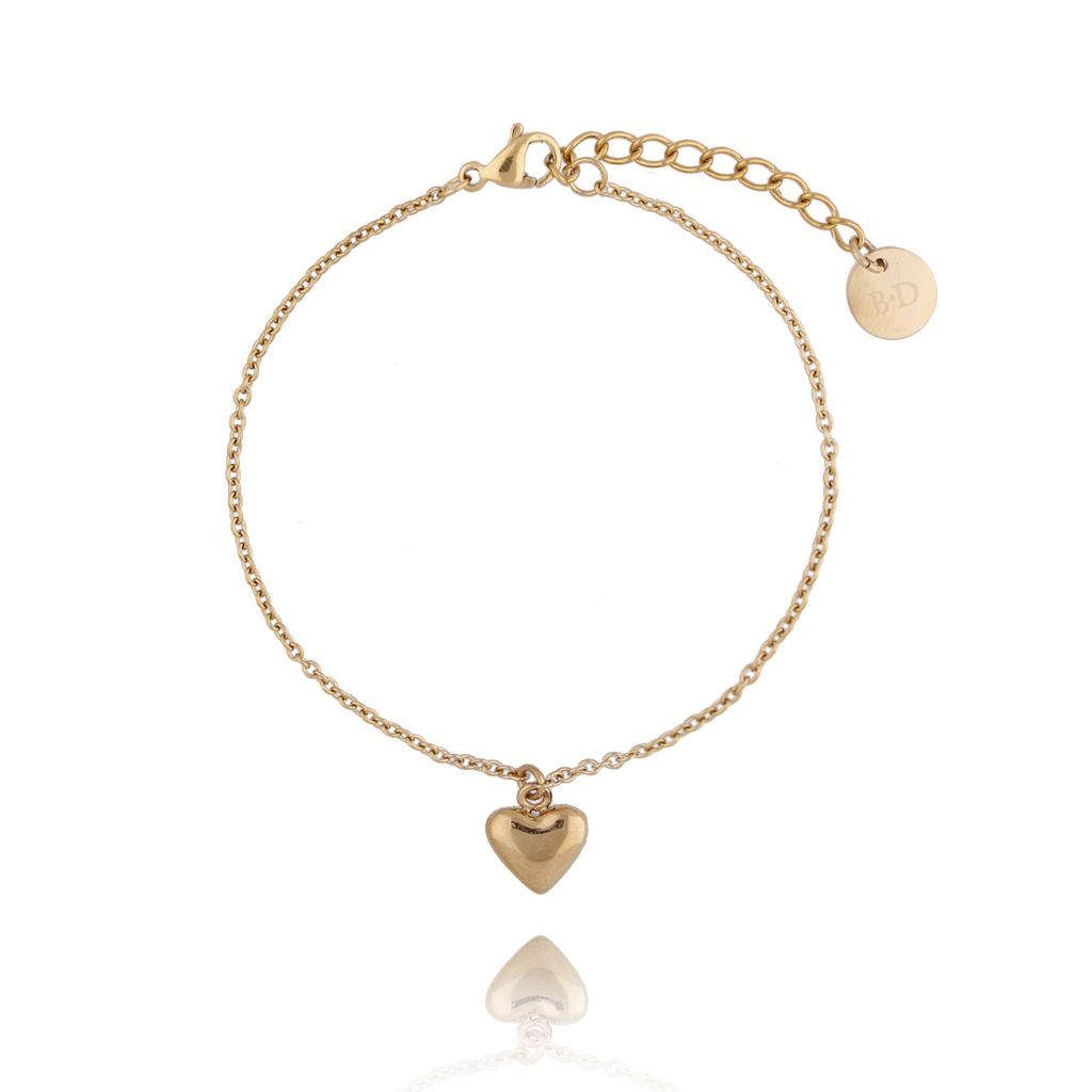 Bransoletka złota z sercem ze stali szlachetnej BSA0102
