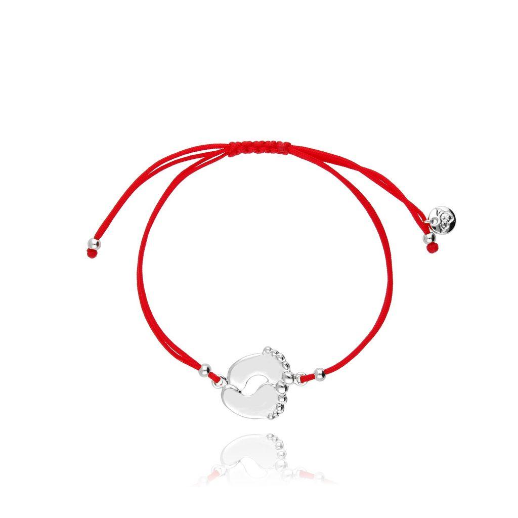 Bransoletka czerwona ze srebrną  stópką BGL0440