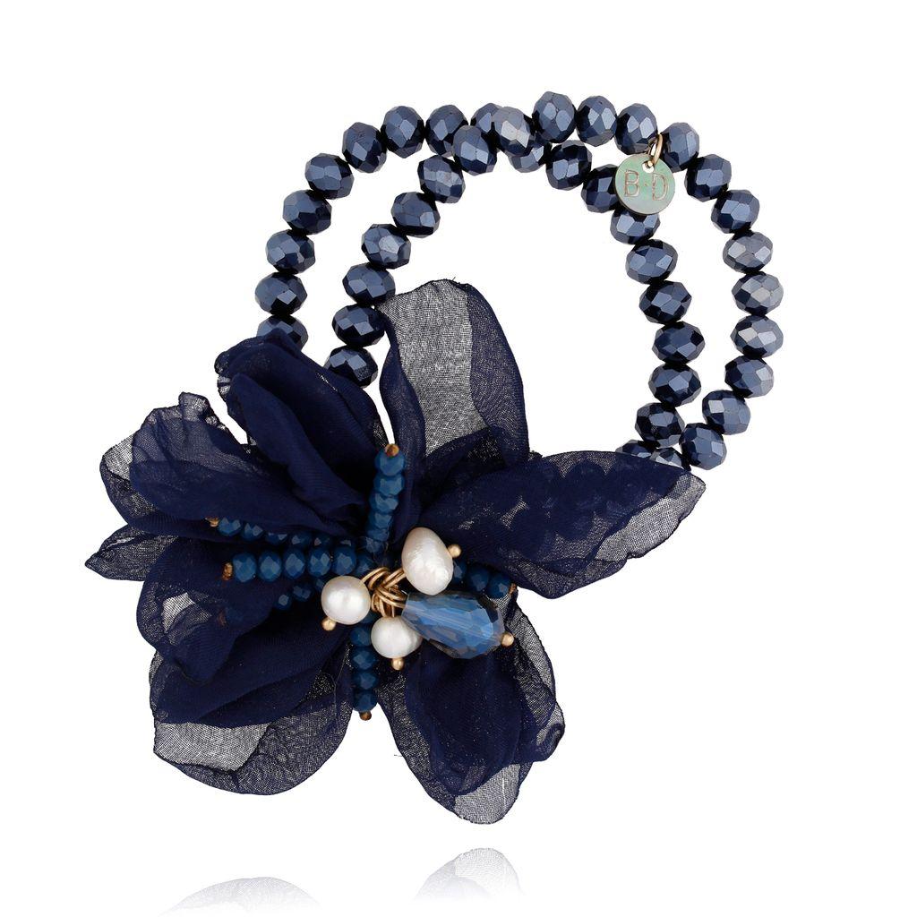 Bransoletka z kryształkami i granatowym kwiatem BBL0135