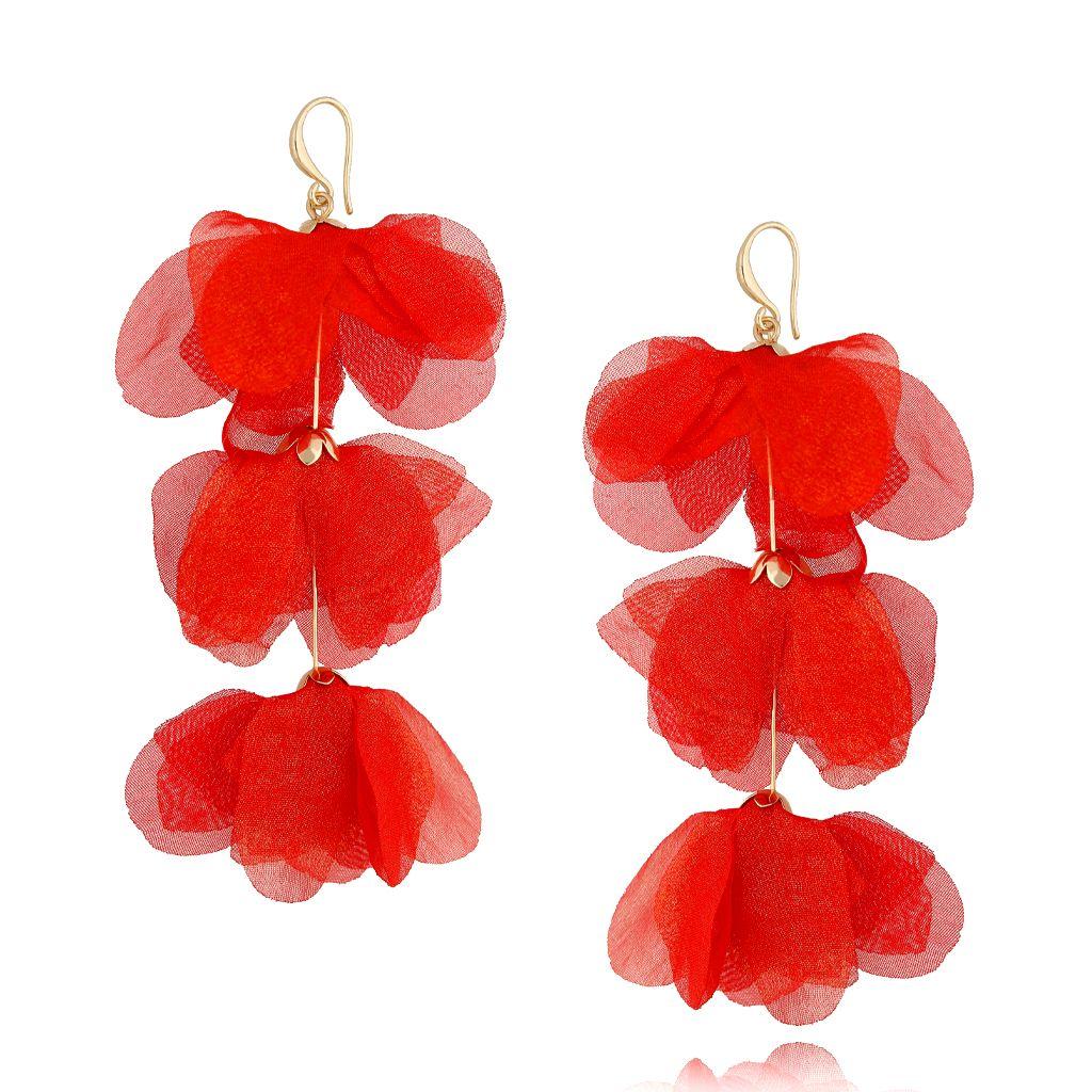 Kolczyki jedwabne kwiaty potrójne czerwone KBL0615