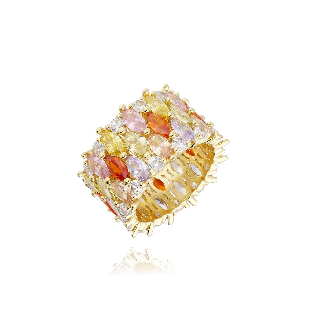 Pierścionek złoty z  kolorowymi kryształkami PRG0111 rozmiar 17