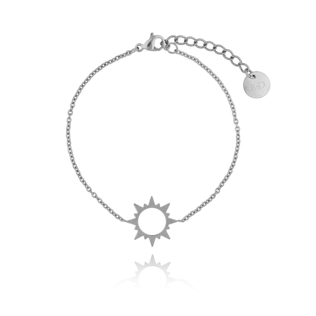 Bransoletka srebrna ze słońcem ze stali szlachetnej BSA0091