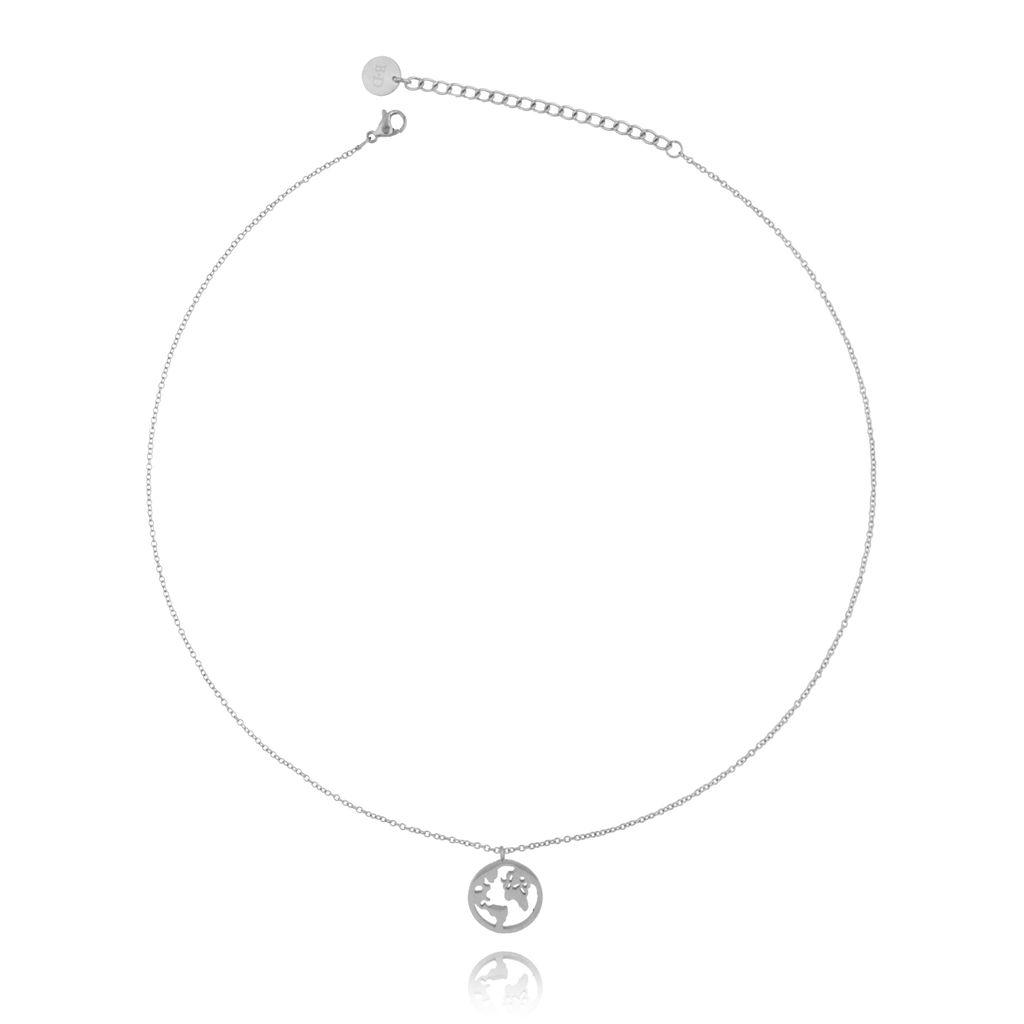 Naszyjnik srebrny z Ziemią ze stali szlachetnej NSA0110