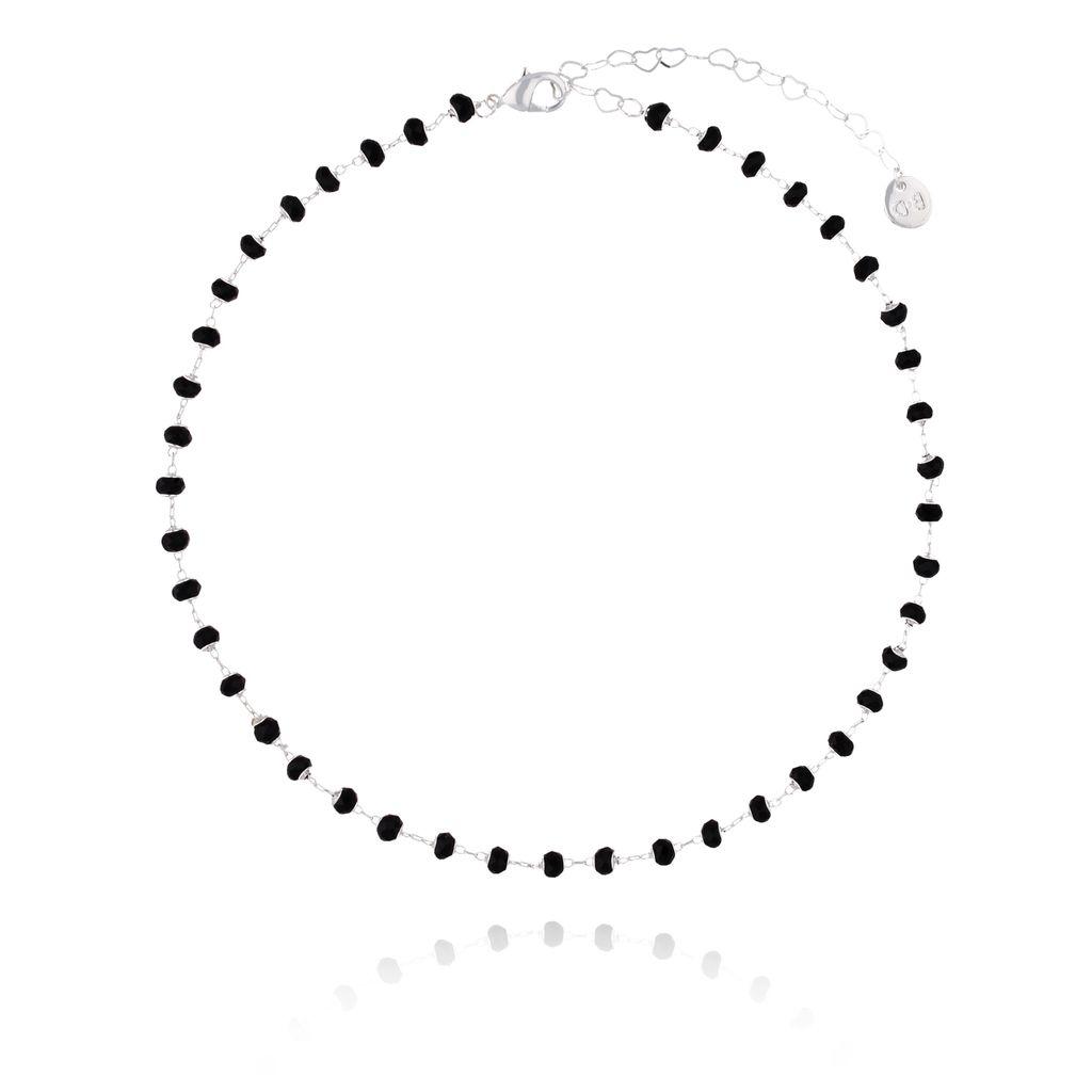 Choker Olivia srebrny z czarnymi kryształkami NOA0021