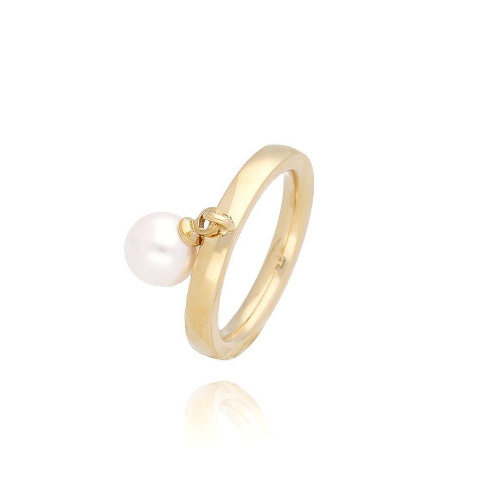 Pierścionek złoty z perłą ze stali szlachetnej PSA0060 Rozmiar 20