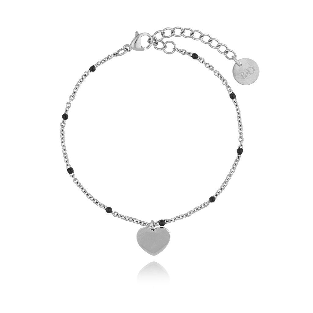 Bransoletka srebrna z sercem ze stali szlachetnej BSA0080