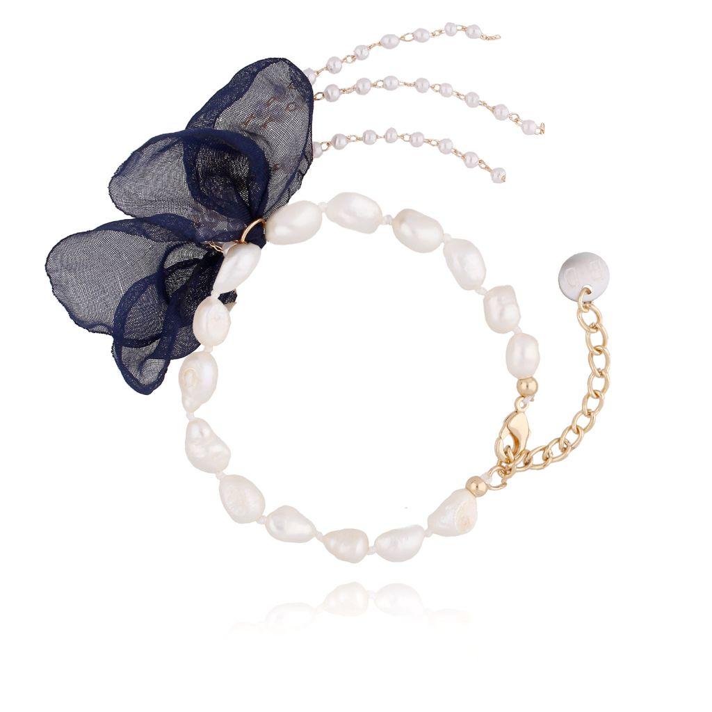 Bransoletka z perłami i z granatowym kwiatem  BBL0064