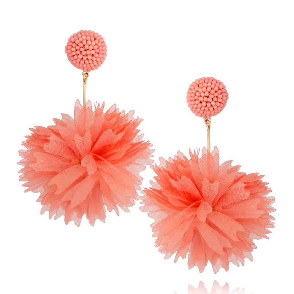 Kolczyki jedwabne kwiaty brzoskwiniowe KBL0676