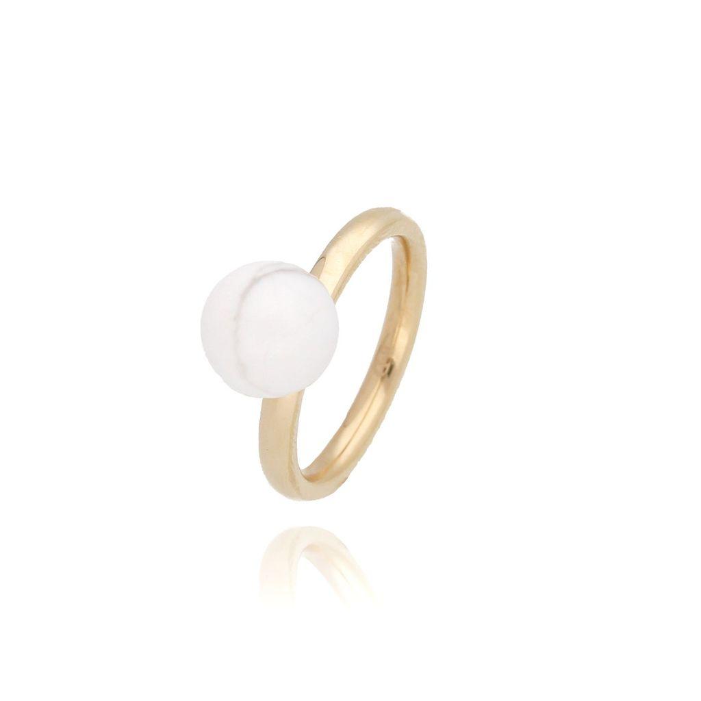 Pierścionek złoty ze stali szlachetnej z białą kulką PSA0095 Rozmiar 15