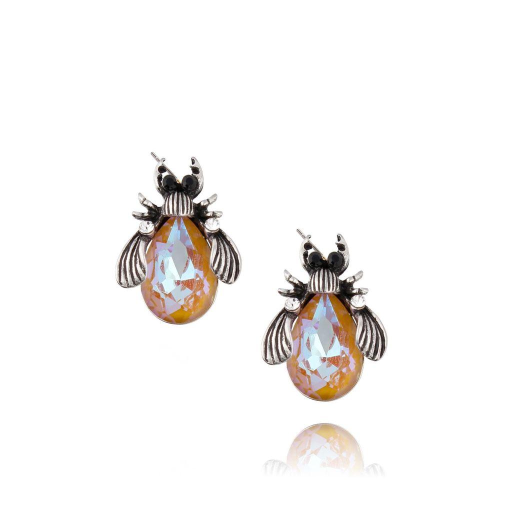 Kolczyki srebrne żuki z miodowymi kryształkami KMI0084