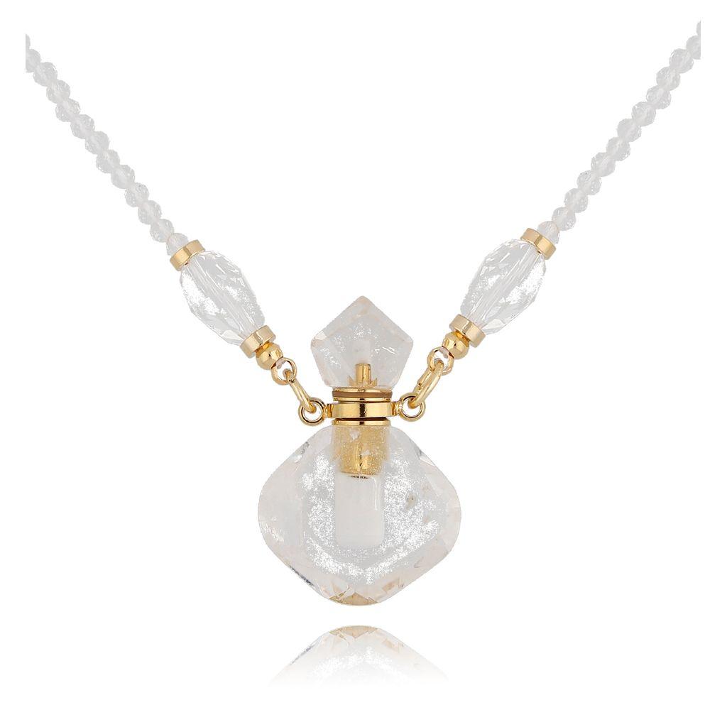 Naszyjnik perfumetka z kryształem górskim NPA0195