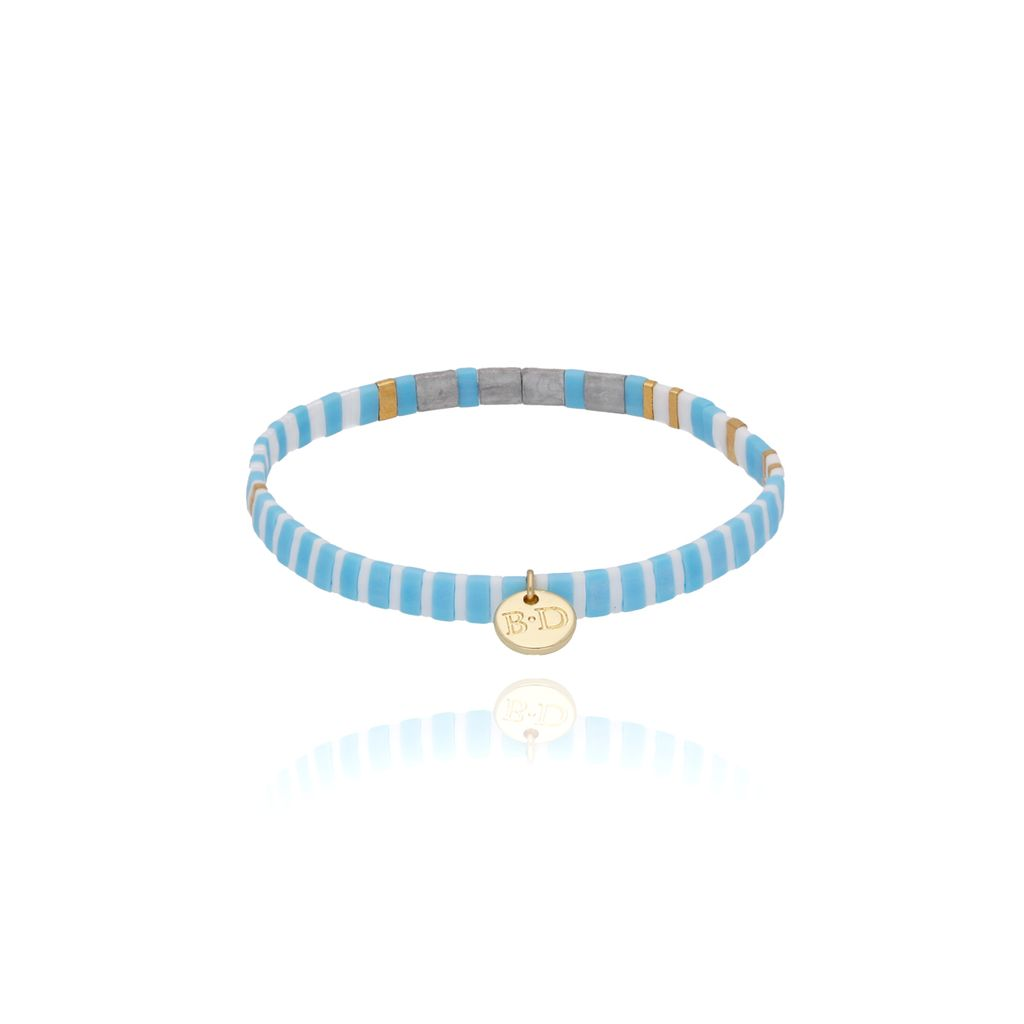 Bransoletka elastyczna niebiesko szara BLB0062