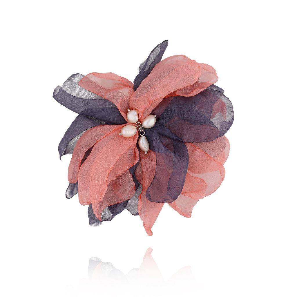 Broszka / spinka kwiat z perełkami granatowo różowa BRBL0016