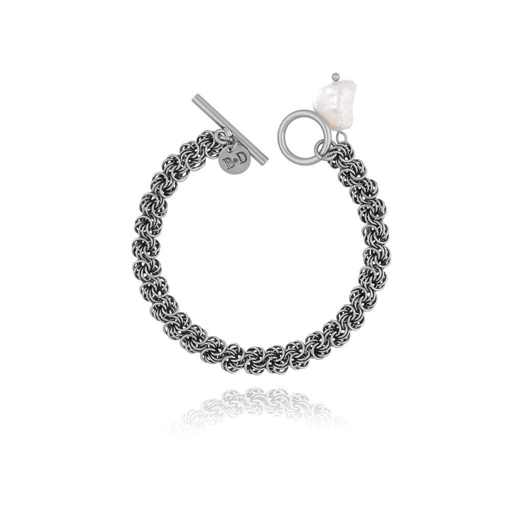 Bransoletka z perłą  i łańcuszkiem srebro antyczne BPE0032