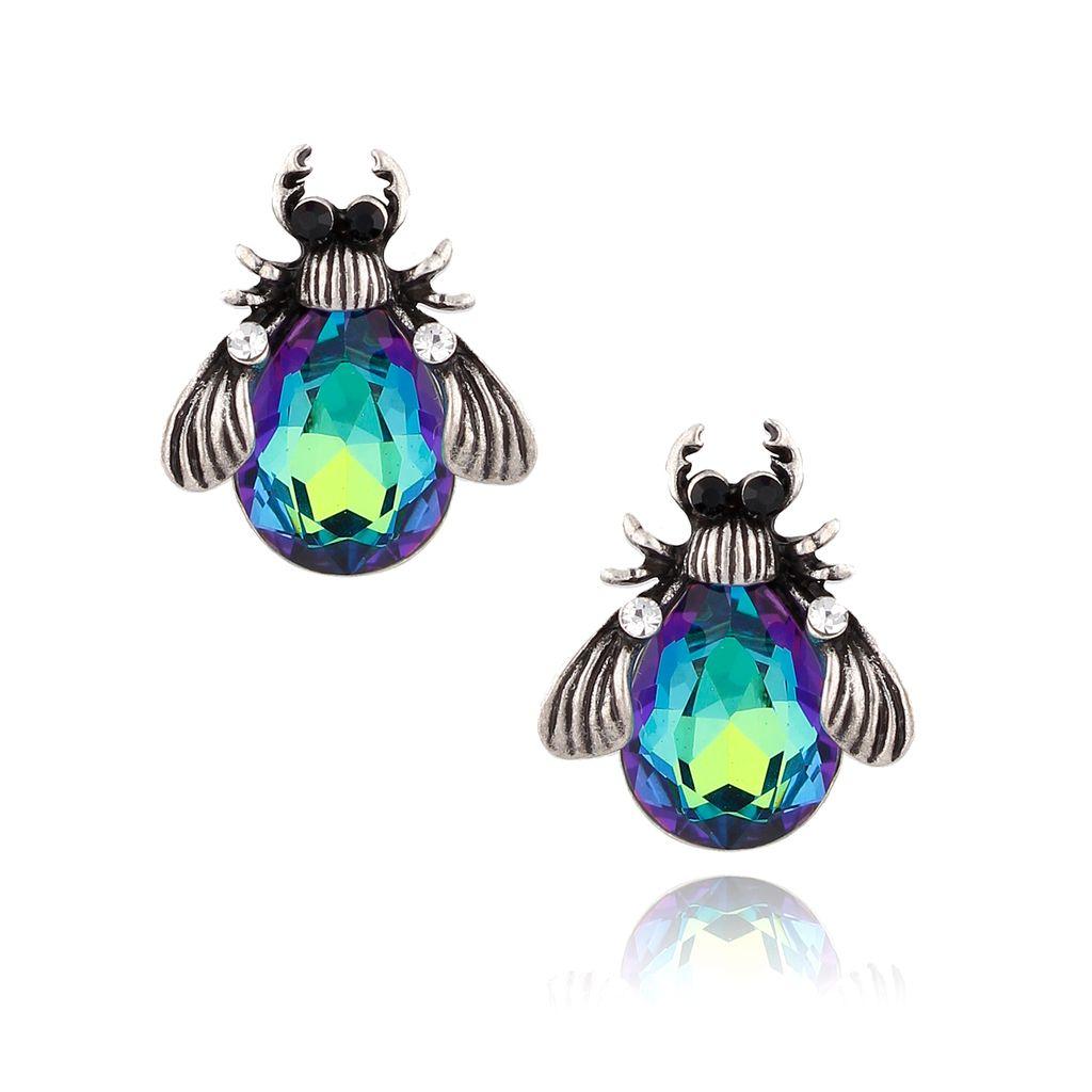 Kolczyki srebrne żuki z zielono granatowymi kryształkami KMI0131
