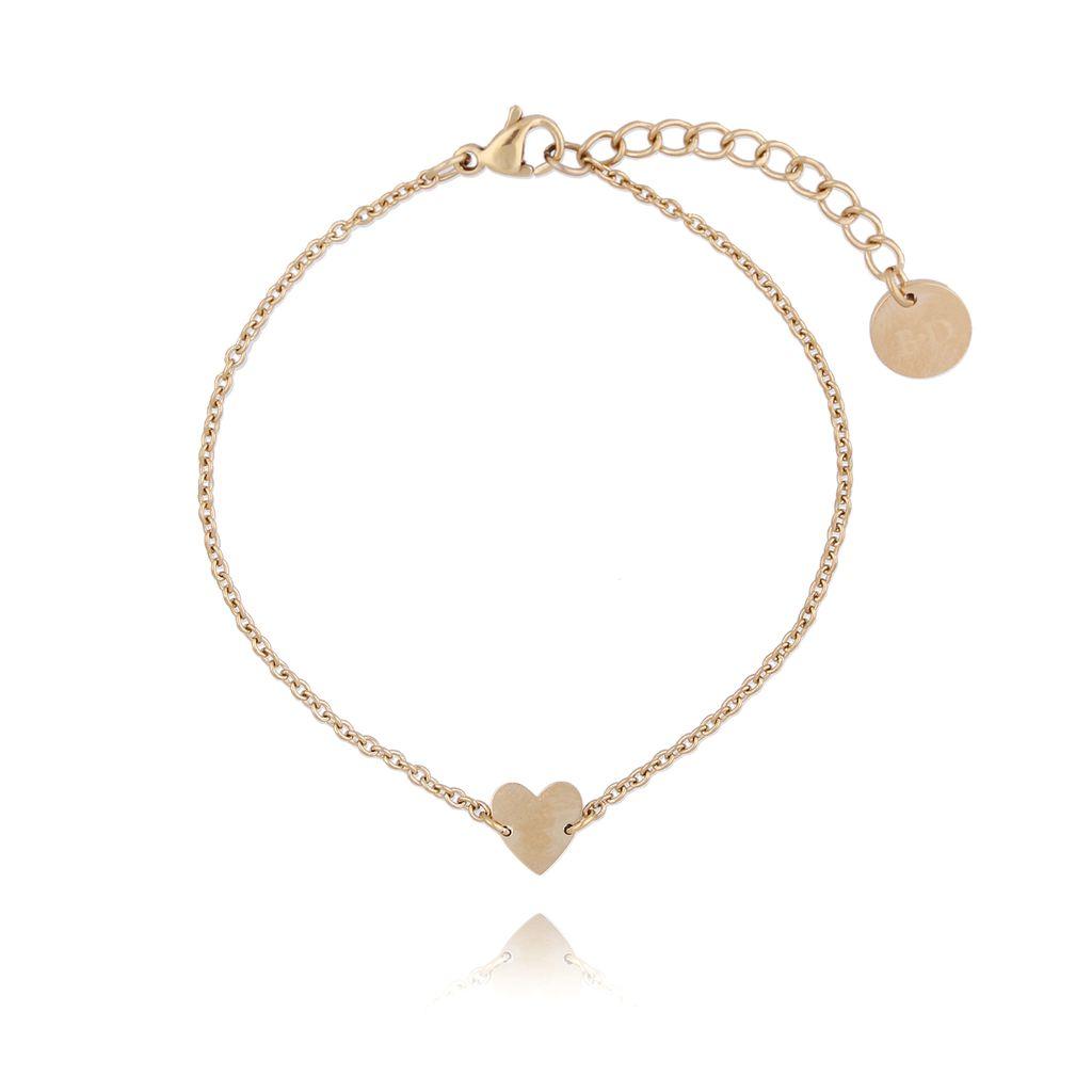 Bransoletka złota z sercem ze stali szlachetnej BSA0073