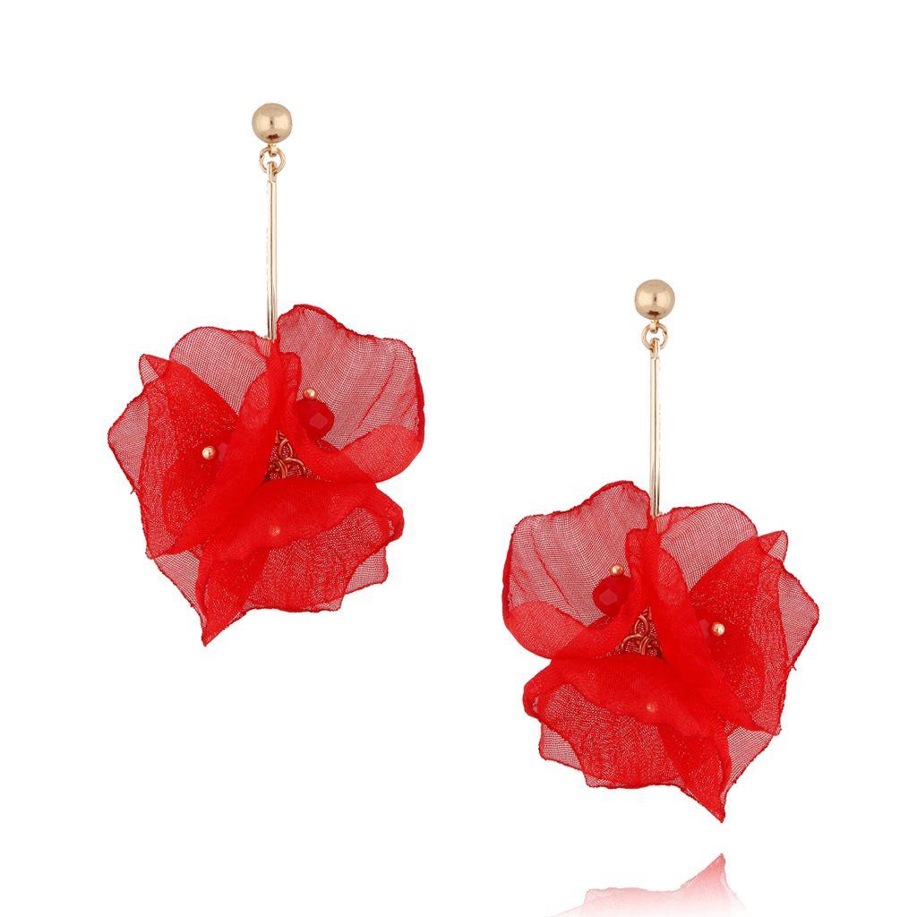 Kolczyki kwiaty jedwabne czerwone KBL0381