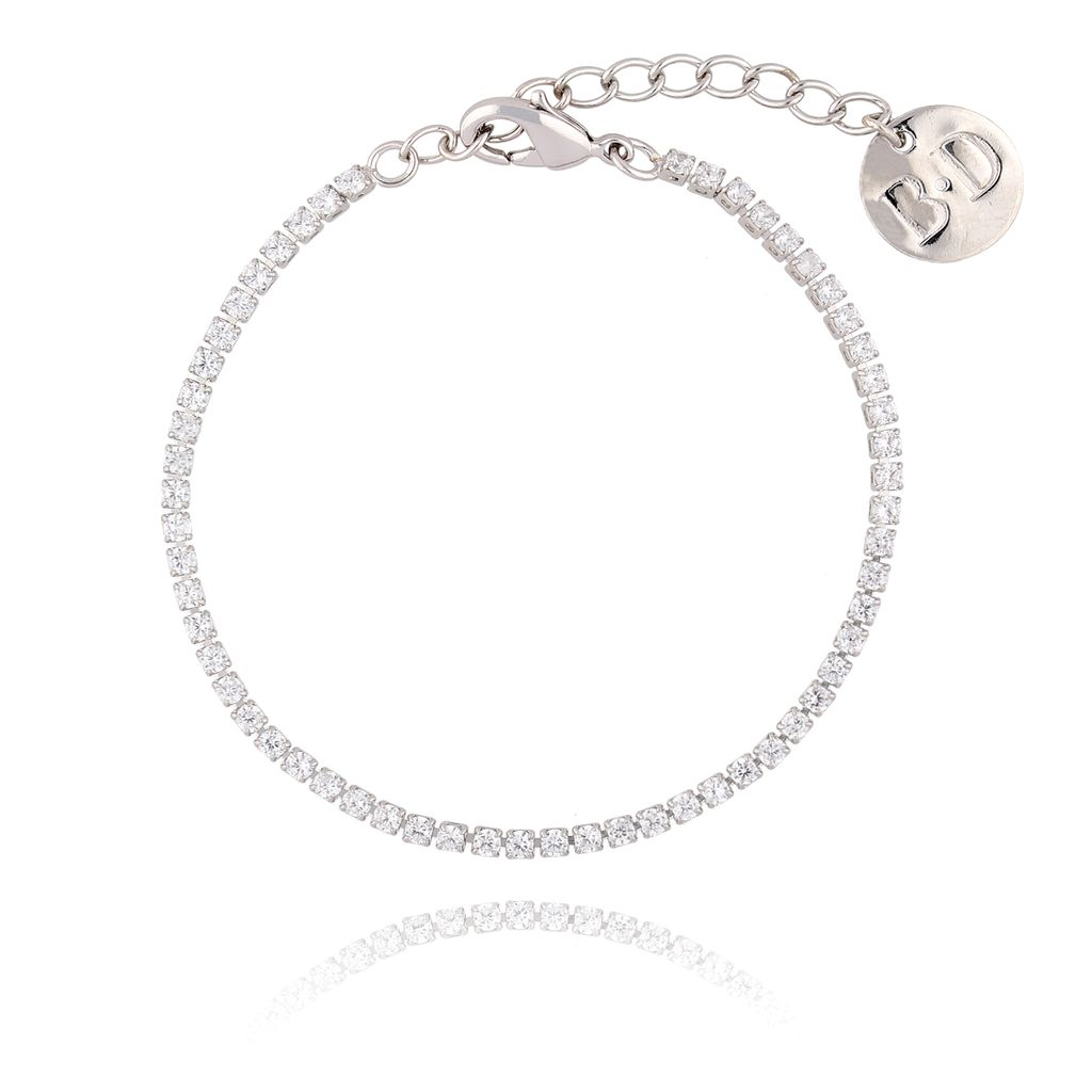 Bransoletka srebrna z transparentnymi cyrkoniami BMU0010