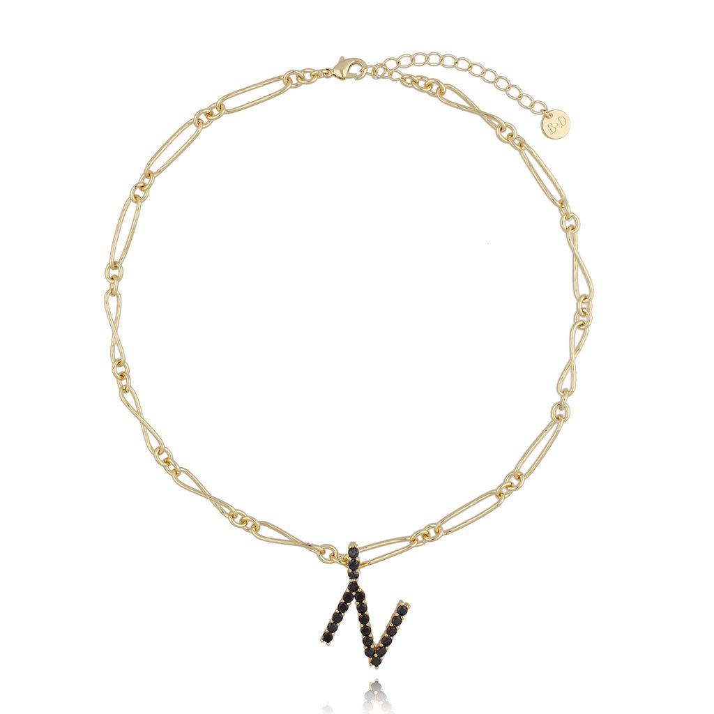 Naszyjnik złoty łańcuch z literą N NRG0205