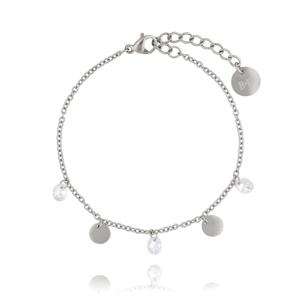 Bransoletka srebrna z kółeczkami i kryształkami ze stali szlachetnej BSA0045