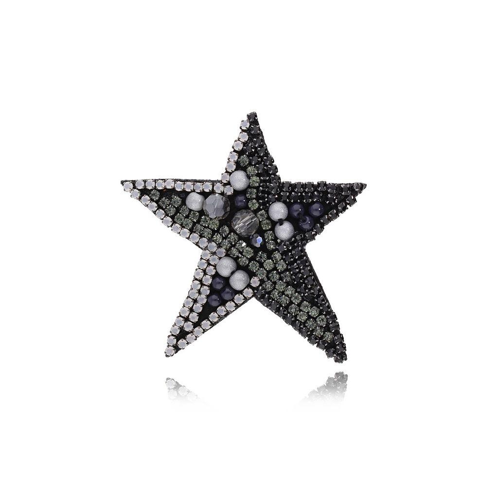 Pierścionek grafitowy kryształowa gwiazda PMS0315